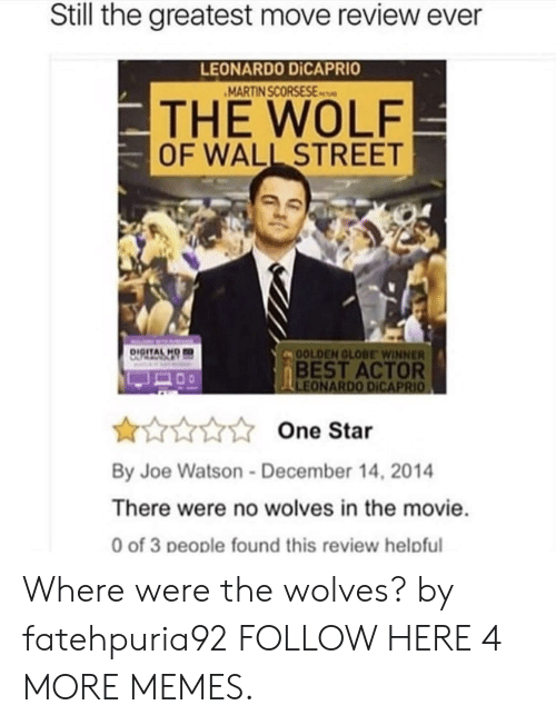 Best Actor: Still the greatest move review ever  LEONARDO DİCAPRIO  MARTIN SCORSESEs  THE WOLF  OF WALL STREET  DIGITALH  OLDEN GLOBE WINNER  BEST ACTOR  One Star  By Joe Watson-December 14, 2014  There were no wolves in the movie  0 of 3 people found this review helpful Where were the wolves? by fatehpuria92 FOLLOW HERE 4 MORE MEMES.
