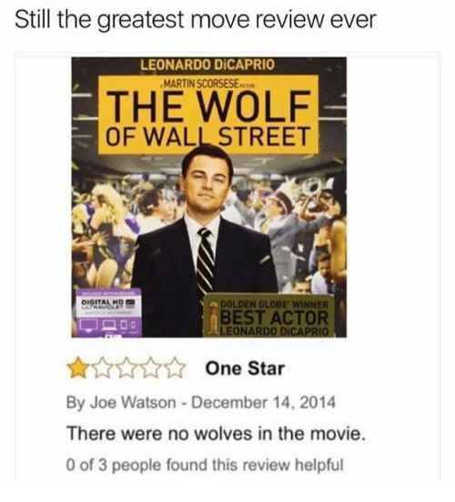Memes, 🤖, and Wall Street: Still the greatest move review ever  LEONARDO DiCAPRIO  THE WOLF  OF WALL STREET  GOLDEN GLOBE WINNER  BEST ACTOR  LEONARDO DiCAPRIO  One Star  By Joe Watson December 14, 2014  There were no wolves in the movie.  0 of 3 people found this review helpful