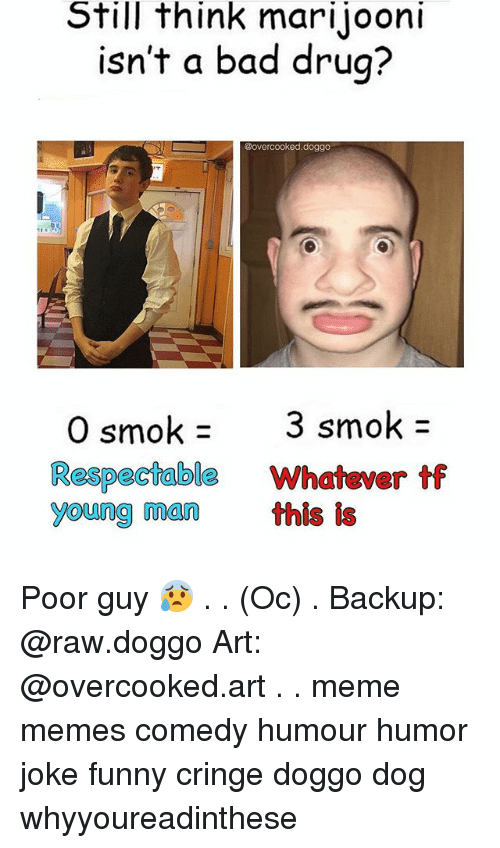 Bad, Funny, and Meme: Still think mari jooni  isn't a bad drug?  @overcooked doggo  smok 3 smok  O Respectable Whatever ff  young man this  is Poor guy 😰 . . (Oc) . Backup: @raw.doggo Art: @overcooked.art . . meme memes comedy humour humor joke funny cringe doggo dog whyyoureadinthese