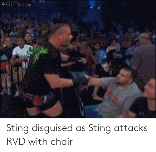 disguised: Sting disguised as Sting attacks RVD with chair