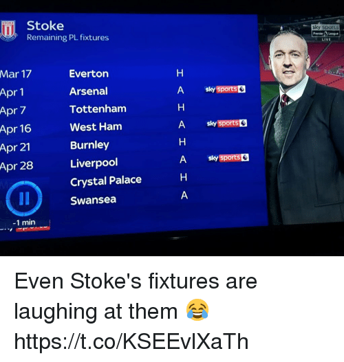 Arsenal, Soccer, and Sports: Stoke  Remaining PL fixtures  sky sports  LIVE  Mar 17  Apr 1  Apr 7  Apr 16  Apr 21  Apr 28  Evertor  Arsenal  Tottenham  West Ham  Burnley  Liverpool  Crystal Palace  Swansea  A sky sports  A sy sports  A sky sports  -1 min Even Stoke's fixtures are laughing at them 😂 https://t.co/KSEEvlXaTh