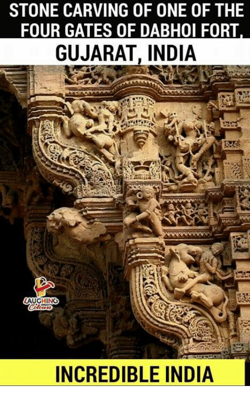 stoning: STONE CARVING OF ONE OF THE  FOUR GATES OF DABHOI FORT  GUJARAT, INDIA  AUGHING  INCREDIBLE INDIA
