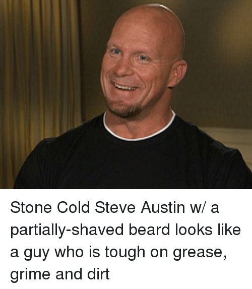 Beard, Funny, and Stone Cold Steve Austin: Stone Cold Steve Austin w/ a partially-shaved beard looks like a guy who is tough on grease, grime and dirt