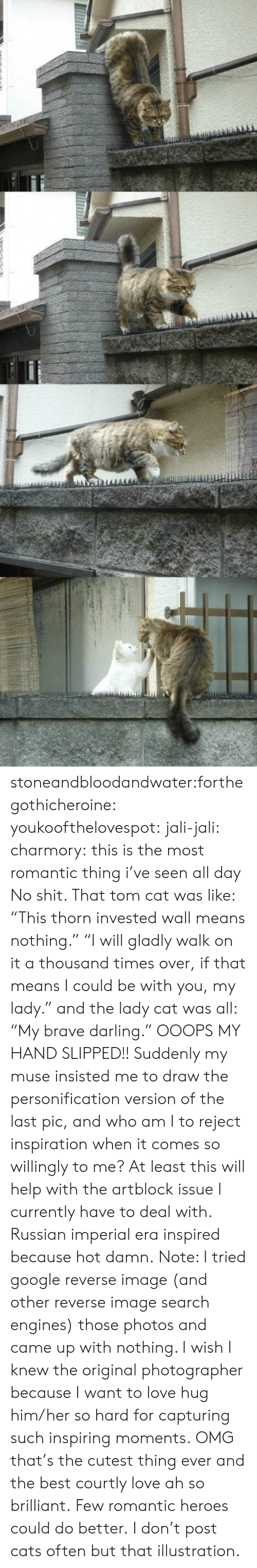 """tom cat: stoneandbloodandwater:forthegothicheroine:  youkoofthelovespot:  jali-jali:  charmory:  this is the most romantic thing i've seen all day  No shit. That tom cat was like: """"This thorn invested wall means nothing."""" """"I will gladly walk on it a thousand times over, if that means I could be with you, my lady."""" and the lady cat was all: """"My brave darling."""" OOOPS MY HAND SLIPPED!! Suddenly my muse insisted me to draw the personification version of the last pic, and who am I to reject inspiration when it comes so willingly to me? At least this will help with the artblock issue I currently have to deal with. Russian imperial era inspired because hot damn. Note: I tried google reverse image (and other reverse image search engines) those photos and came up with nothing. I wish I knew the original photographer because I want to love hug him/her so hard for capturing such inspiring moments.  OMG that's the cutest thing ever and the best courtly love ah so brilliant.  Few romantic heroes could do better.  I don't post cats often butthat illustration."""