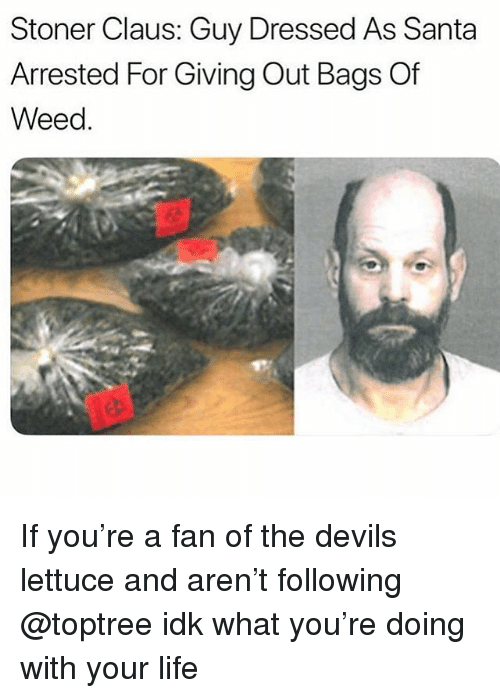 The Devils Lettuce: Stoner Claus: Guy Dressed As Santa  Arrested For Giving Out Bags Of  Weed. If you're a fan of the devils lettuce and aren't following @toptree idk what you're doing with your life