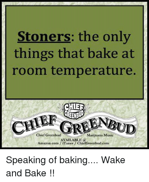 room temperature: Stoners: the only  things that bake at  room temperature.  CHER  GREENRUD  Chief Greenbud  Marijuana Music  AVAILABLE a  Amazon.com iTunes ChiefGreenbud.com Speaking of baking....  Wake and Bake !!