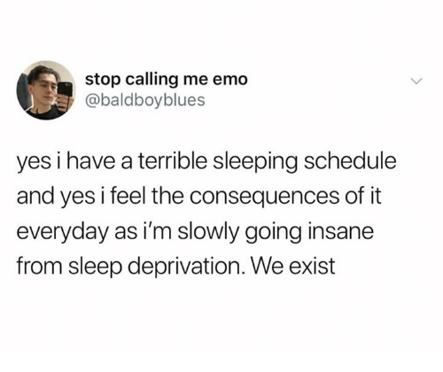 Going Insane: stop calling me emo  @baldboyblues  yes i have a terrible sleeping schedule  and yes i feel the consequences of it  everyday as i'm slowly going insane  from sleep deprivation. We exist