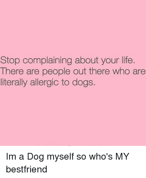 Stop Complaining: Stop complaining about your life.  There are people out there who are  literally allergic to dogs. Im a Dog myself so who's MY bestfriend