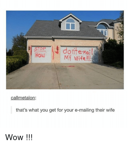 Tumblr, Wow, and Mail: STOP  donte-Mail  Now MY wife  callmetalon:  that's what you get for your e-mailing their wife Wow !!!