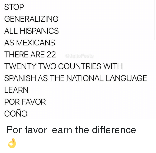 Memes, Spanish, and 🤖: STOP  GENERALIZING  ALL HISPANICS  AS MEXICANS  THERE ARE 22  TWENTY TWO COUNTRIES WITHH  SPANISH AS THE NATIONAL LANGUAGE  LEARN  POR FAVOR  CONO Por favor learn the difference 👌
