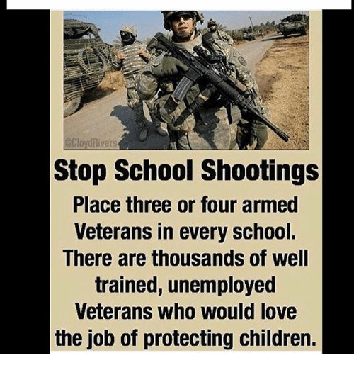 Children, Love, and Memes: Stop School Shootings  Place three or four armed  Veterans in every school.  There are thousands of well  trained, unemployed  Veterans Who Would love  the job of protecting children.