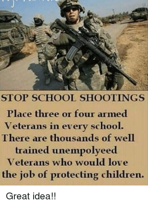 Children, Love, and Memes: STOP SCHOOL SHOOTINGS  Place three or four armed  Veterans in everv school.  There are thousands of well  trained unempolveed  Veterans who would love  the job of protecting children. Great idea!!