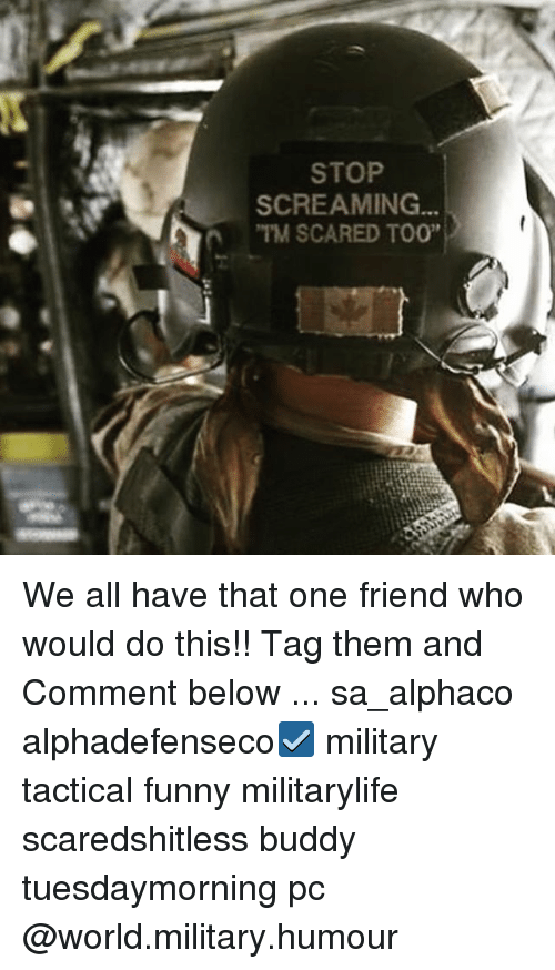 "Funny, Memes, and World: STOP  SCREAMING  n TAM SCARED TOO"" We all have that one friend who would do this!! Tag them and Comment below ... sa_alphaco alphadefenseco☑️ military tactical funny militarylife scaredshitless buddy tuesdaymorning pc @world.military.humour"