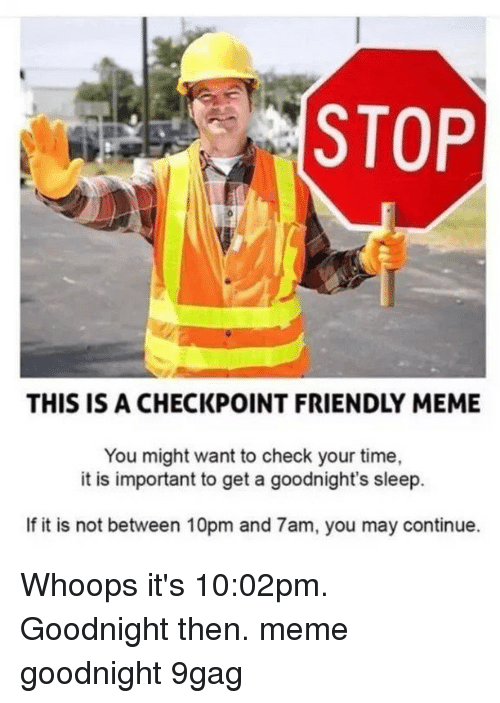 whoops: STOP  THIS IS A CHECKPOINT FRIENDLY MEME  You might want to check your time,  it is important to get a goodnight's sleep.  If it is not between 10pm and 7am, you may continue. Whoops it's 10:02pm. Goodnight then.⠀ meme goodnight 9gag