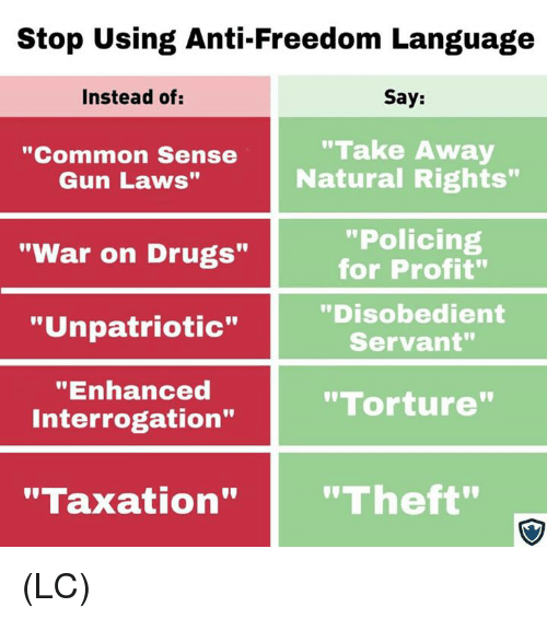 "gun laws: Stop Using Anti-Freedom Language  Instead of:  Say:  ""Common Sense  Gun Laws""  ""Take Away  Natural Rights""  ""Policing  for Profit""  ""Disobedient  Servant""  ""War on Drugs""  ""Unpatriotic""  ""Enhanced  Interrogation""  ""Torture  ""Taxation""""Theft"" (LC)"