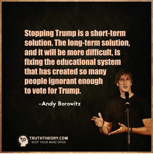 Image result for Borowitz need for education trump