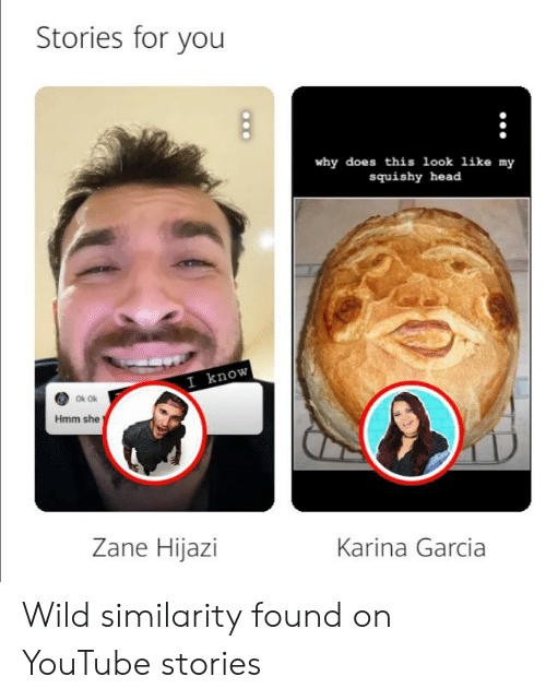 My Squishy: Stories for you  why does this look like my  squishy head  I know  Ok Ok  Hmm she  Zane Hijazi  Karina Garcia Wild similarity found on YouTube stories