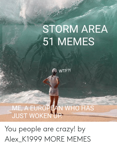 people are crazy: STORM AREA  51 MEMES  WTF?!  ME, A EUROPEAN WHO HAS  JUST WOKEN UP- You people are crazy! by Alex_K1999 MORE MEMES
