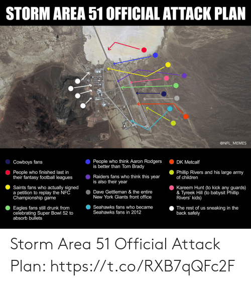 Sneaking: STORM AREA 51 OFFICIAL ATTACK PLAN  @NFL_MEMES  People who think Aaron Rodgers  is better than Tom Brady  Cowboys fans  DK Metcalf  People who finished last in  their fantasy football leagues  Phillip Rivers and his large army  of children  Raiders fans who think this year  is also their year  Kareem Hunt (to kick any guards)  & Tyreek Hill (to babysit Phillip  Rivers' kids)  Saints fans who actually signed  a petition to replay the NFC  Championship game  Dave Gettleman & the entire  New York Giants front office  Seahawks fans who became  Seahawks fans in 2012  Eagles fans still drunk from  celebrating Super Bowl 52 to  absorb bullets  The rest of us sneaking in the  back safely Storm Area 51 Official Attack Plan: https://t.co/RXB7qQFc2F