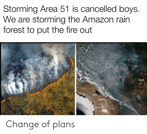 Brazil: Storming Area 51 is cancelled boys.  We are storming the Amazon rain  forest to put the fire out  Brazil  Peru  Bolivia  Chile Change of plans