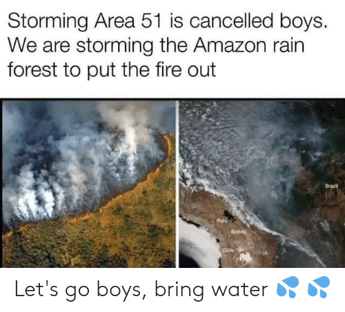 Chile: Storming Area 51 is cancelled boys.  We are storming the Amazon rain  forest to put the fire out  Brazi  Chile Let's go boys, bring water 💦 💦