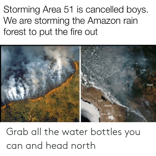 Chile: Storming Area 51 is cancelled boys.  We are storming the Amazon rain  forest to put the fire out  Brazil  Peru  Bolivia  Chile Grab all the water bottles you can and head north