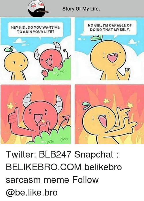 Be Like, Life, and Meme: Story Of My Life.  HEY KID, DO YOU WANT ME  TO RUIN YOUR LIFE?  NO SIR, I'M CAPABLE OF  DOING THAT MYSELF. Twitter: BLB247 Snapchat : BELIKEBRO.COM belikebro sarcasm meme Follow @be.like.bro