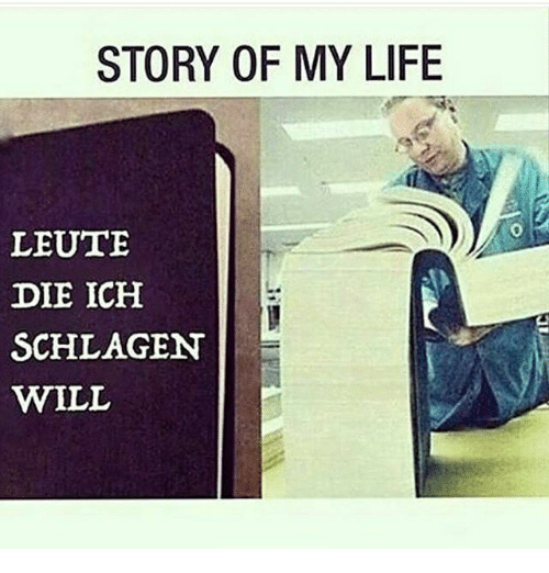 Life, Memes, and 🤖: STORY OF MY LIFE  LEUTE  DIE ICH  SCHLAGEN  WILL