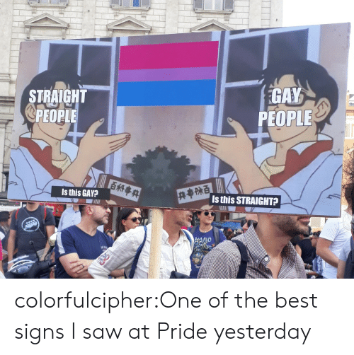 Best Signs: STRAIGHT  @PEOPLE  GAY  PEOPLE  Is this GAY?  Is this STRAIGHT?  AD colorfulcipher:One of the best signs I saw at Pride yesterday
