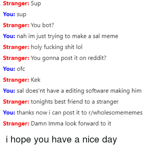 kek: Stranger: Sup  You: sup  Stranger: You bot?  You: nah im just trying to make a sal meme  Stranger: holy fucking shit lol  Stranger: You gonna post it on reddit?  You: ofc  Stranger: Kek  You: sal does'nt have a editing softw  Stranger: tonights best friend to a stranger  You: thanks now i can post it to r/wholesomememes  are making him  Stranger: Damn Imma look fornward to it i hope you have a nice day