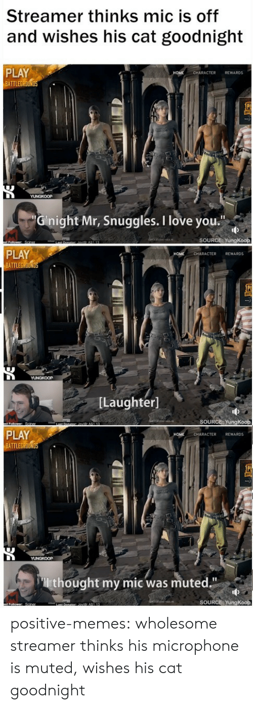 """Rewards: Streamer thinks mic is off  and wishes his cat goodnight  PLAY  ATTLEGROUN  CHARACTER REWARDS  Ginight Mr, Snuggles. I love you  SOURCE: YungKoop  PLAY  BATTLEGROUND  CHARACTER REWARDS  [Laughter]  SOURCE: YungKoop  PLAY  BATTLEG  HOME  CHARACTER REWARDS  thought my mic was muted.""""  SOURCE: YungKoop positive-memes: wholesome streamer thinks his microphone is muted, wishes his cat goodnight"""