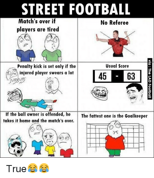 Football, Memes, and True: STREET FOOTBALL  Match's over if  No Referee  players are tired  Usual Score  Penalty kick is set only if the  45 63  A injured player swears a lot  If the ball owner is offended, he  The fattest one is the Goalkeeper  takes it home and the match's over. True😂😂