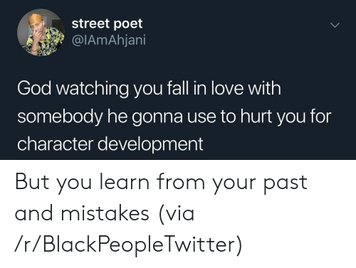 you fall in love: street poet  @IAmAhjani  God watching you fall in love with  somebody he gonna use to hurt you for  character development But you learn from your past and mistakes (via /r/BlackPeopleTwitter)