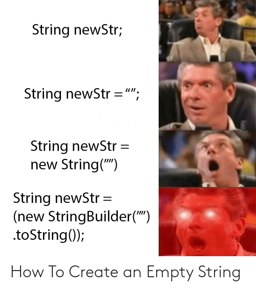 """string: String newStr;  String newStr ="""";  String newStr  new String("""")  String newStr =  (new StringBuilder("""")  .toString(); How To Create an Empty String"""