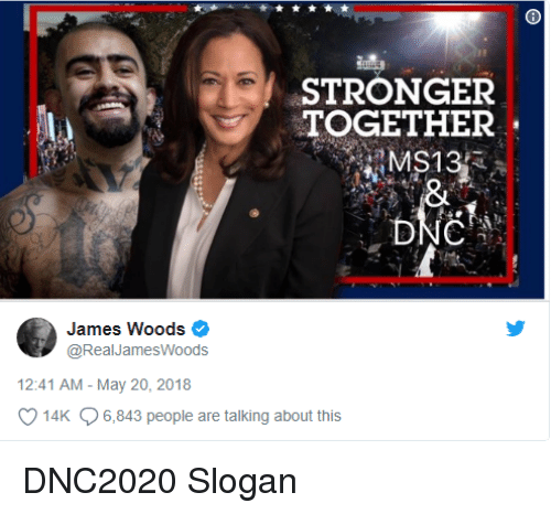 James Woods, James, and May: STRONGER  TOGETHER  James Woods  @RealJamesWoods  12:41 AM - May 20, 2018  14K 6,843 people are talking about this