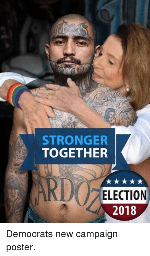 Memes, 🤖, and Election: STRONGER  TOGETHER  RDO  ELECTION  2018 Democrats new campaign poster.
