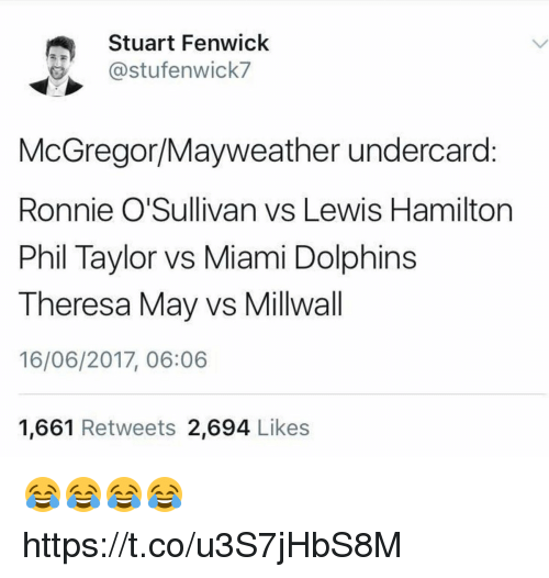 Mayweather, Soccer, and Miami Dolphins: Stuart Fenwick  stufenwick7  McGregor Mayweather undercard  Ronnie O'Sullivan vs Lewis Hamilton  Phil Taylor vs Miami Dolphins  Theresa May vs Millwall  16/06/2017, 06:06  1,661 Retweets  2.694  Likes 😂😂😂😂 https://t.co/u3S7jHbS8M