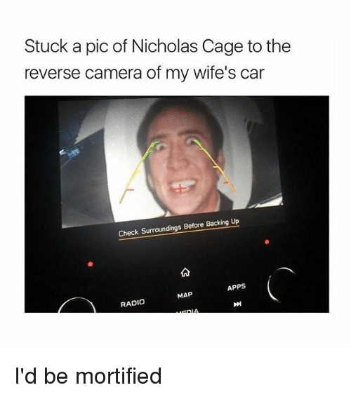 Radio, Apps, and Camera: Stuck a pic of Nicholas Cage to the  reverse camera of my wife's car  Check Surroundings Before  Backing up  APPS  MAP  RADIO I'd be mortified