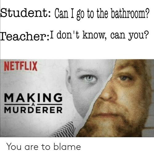 Murderer: Student: Can I go to the bathroom?  Teacher:I don't know, can you?  NETFLIX  MAKING  A  MURDERER You are to blame