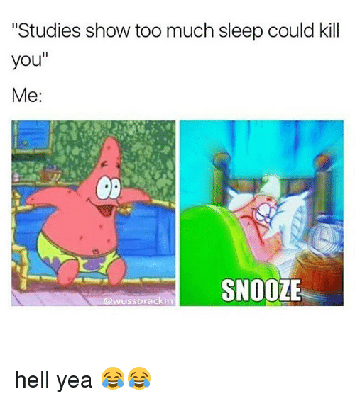 "Memes, 🤖, and You Me: ""Studies show too much sleep could kill  you  Me  SNOOZE  ussbrackin hell yea 😂😂"