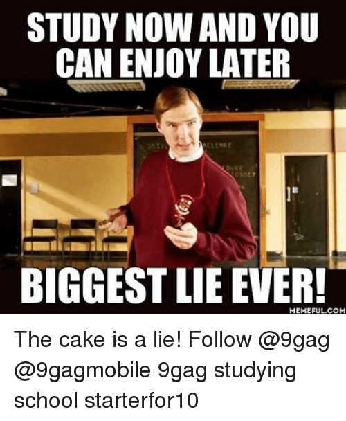 the cake is a lie: STUDY NOW AND YOU  CAN ENJOY LATER  BIGGEST LIE EVER!  COM The cake is a lie! Follow @9gag @9gagmobile 9gag studying school starterfor10