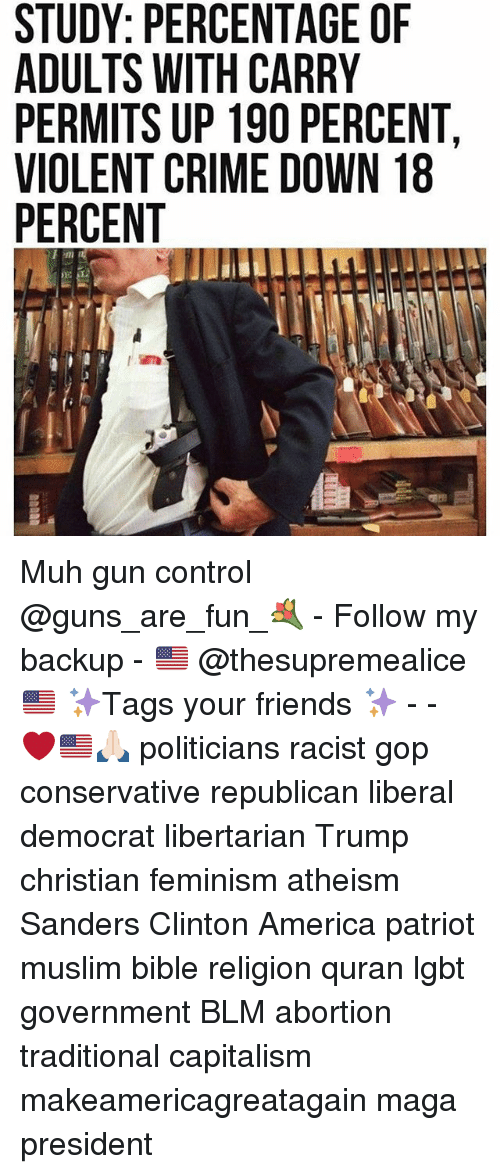 America, Crime, and Feminism: STUDY: PERCENTAGE OF  ADULTS WITH CARRY  PERMITS UP 190 PERCENT,  VIOLENT CRIME DOWN 18  PERCENT Muh gun control @guns_are_fun_💐 - Follow my backup - 🇺🇸 @thesupremealice🇺🇸 ✨Tags your friends ✨ - - ❤️🇺🇸🙏🏻 politicians racist gop conservative republican liberal democrat libertarian Trump christian feminism atheism Sanders Clinton America patriot muslim bible religion quran lgbt government BLM abortion traditional capitalism makeamericagreatagain maga president
