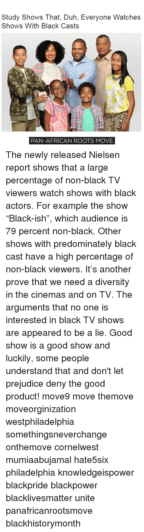 """Memes, 🤖, and Pan: Study Shows That, Duh, Everyone Watches  Shows With Black Casts  PAN-AFRICAN ROOTS MOVE The newly released Nielsen report shows that a large percentage of non-black TV viewers watch shows with black actors. For example the show """"Black-ish"""", which audience is 79 percent non-black. Other shows with predominately black cast have a high percentage of non-black viewers. It's another prove that we need a diversity in the cinemas and on TV. The arguments that no one is interested in black TV shows are appeared to be a lie. Good show is a good show and luckily, some people understand that and don't let prejudice deny the good product! move9 move themove moveorginization westphiladelphia somethingsneverchange onthemove cornelwest mumiaabujamal hate5six philadelphia knowledgeispower blackpride blackpower blacklivesmatter unite panafricanrootsmove blackhistorymonth"""