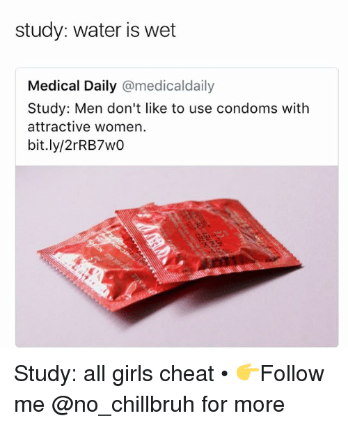 Funny, Girls, and Water: study: water is wet  Medical Daily @medicaldaily  Study: Men don't like to use condoms with  attractive women.  bit.ly/2rRB7wO Study: all girls cheat • 👉Follow me @no_chillbruh for more