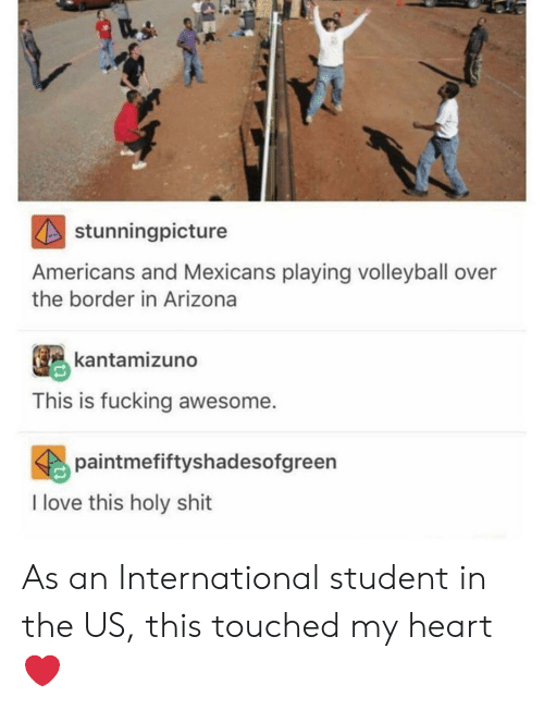 mexicans: stunningpicture  Americans and Mexicans playing volleyball over  the border in Arizona  kantamizuno  This is fucking awesome.  paintmefiftyshadesofgreen  I love this holy shit As an International student in the US, this touched my heart ❤️