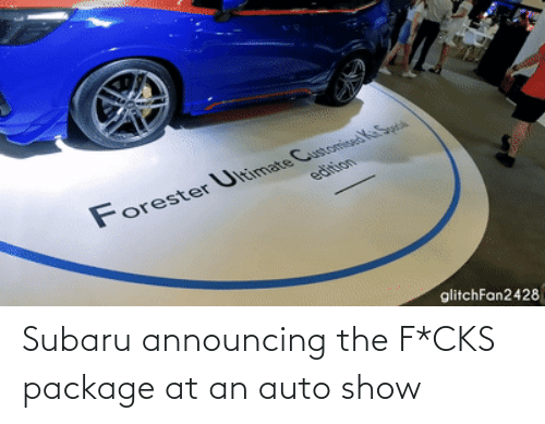 package: Subaru announcing the F*CKS package at an auto show