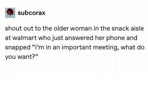"meeting: subcorax  shout out to the older woman in the snack aisle  at walmart who just answered her phone and  snapped ""i'm in an important meeting, what do  you want?"""