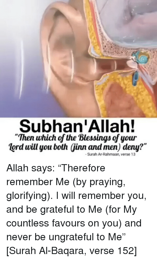 """subhanallah: Subhan'Allah!  Then which of the Blessings of your  lord will you both (jinn and men) deny?""""  Ia  Surah Ar-Rahmaan, verse 13 Allah says: """"Therefore remember Me (by praying, glorifying). I will remember you, and be grateful to Me (for My countless favours on you) and never be ungrateful to Me"""" [Surah Al-Baqara, verse 152]"""