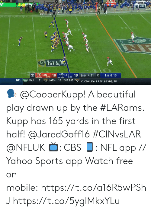 nyj: SUBY  s JADE  NFL  1ST &  KEB CIN  10  (0-7)  10 2ND 4:11 13  LAR  1ST & 10  14-3)  NFL NYJ  JAX 13 2ND 5:13  7  C. CONLEY: 2 REC, 84 YDS, TD 🗣 @CooperKupp!  A beautiful play drawn up by the #LARams. Kupp has 165 yards in the first half! @JaredGoff16 #CINvsLAR @NFLUK  📺: CBS 📱: NFL app // Yahoo Sports app Watch free on mobile:https://t.co/a16R5wPShJ https://t.co/5yglMkxYLu