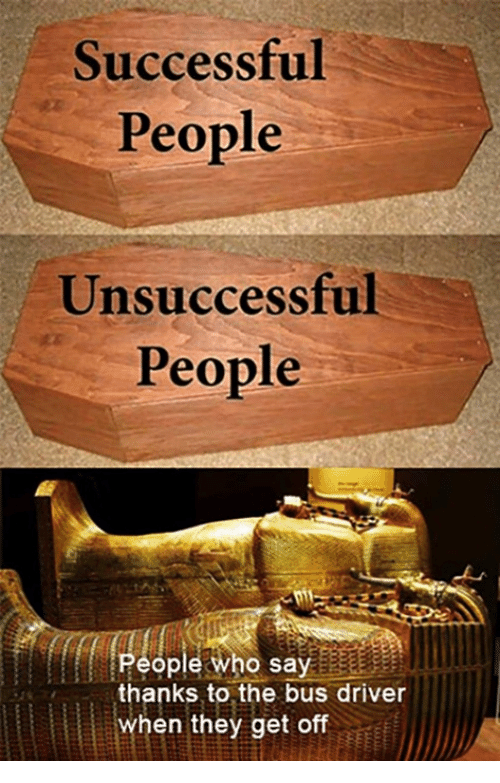 Who, Driver, and Bus: Successful  People  Unsuccessful  People  People who say  thanks to the bus driver  when they get off